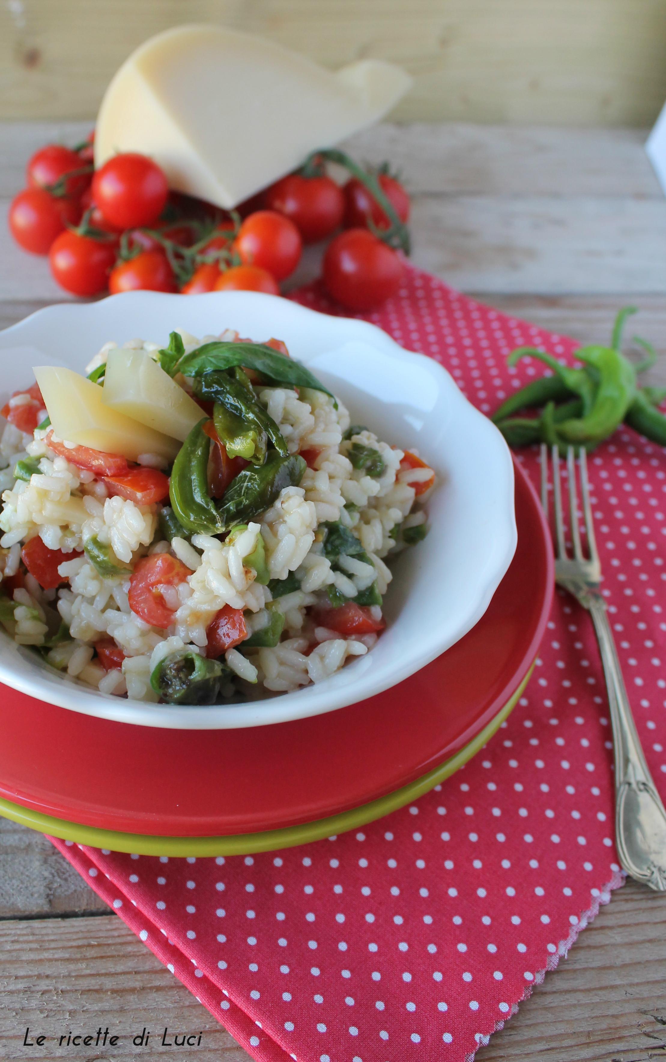 riso freddo pomodorini e peperoncini verdi