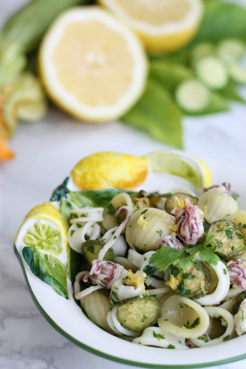 orecchiette con calamaretti, zucchine e limone