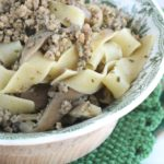 Pappardelle funghi e carne macinata