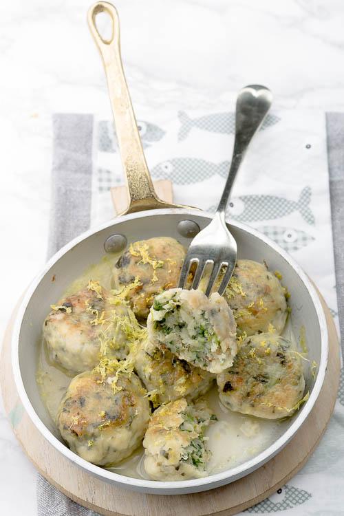 Polpettine di merluzzo, spinaci e limone