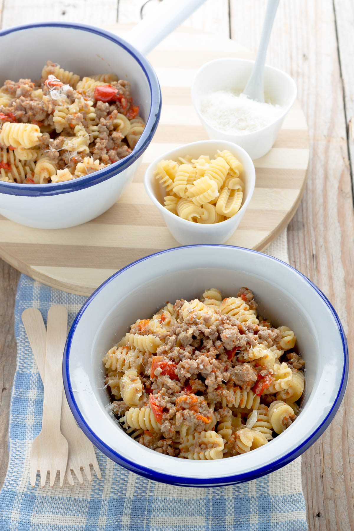 pasta con carne macinata e peperoni